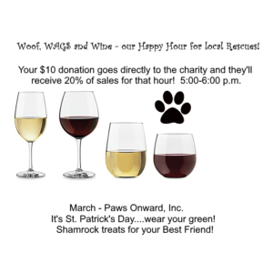 Woof, WAGS and Wine - Paws Onward, Inc.